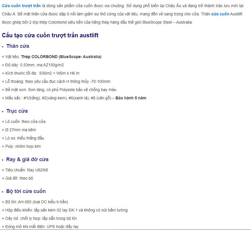 Thông số Cửa cuốn Trượt trần Austlift